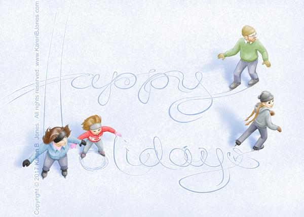 Ice Skating Happy Holidays 600 by K-B-Jones