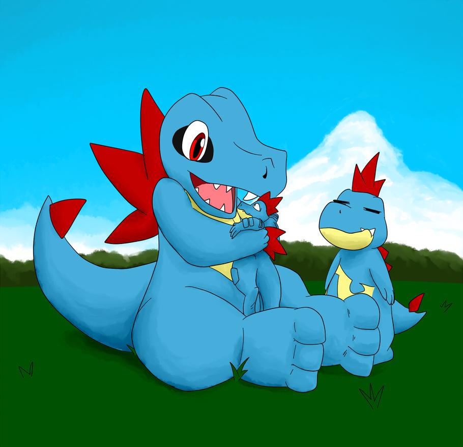Totodile Swimming in Color | Pokémon Amino