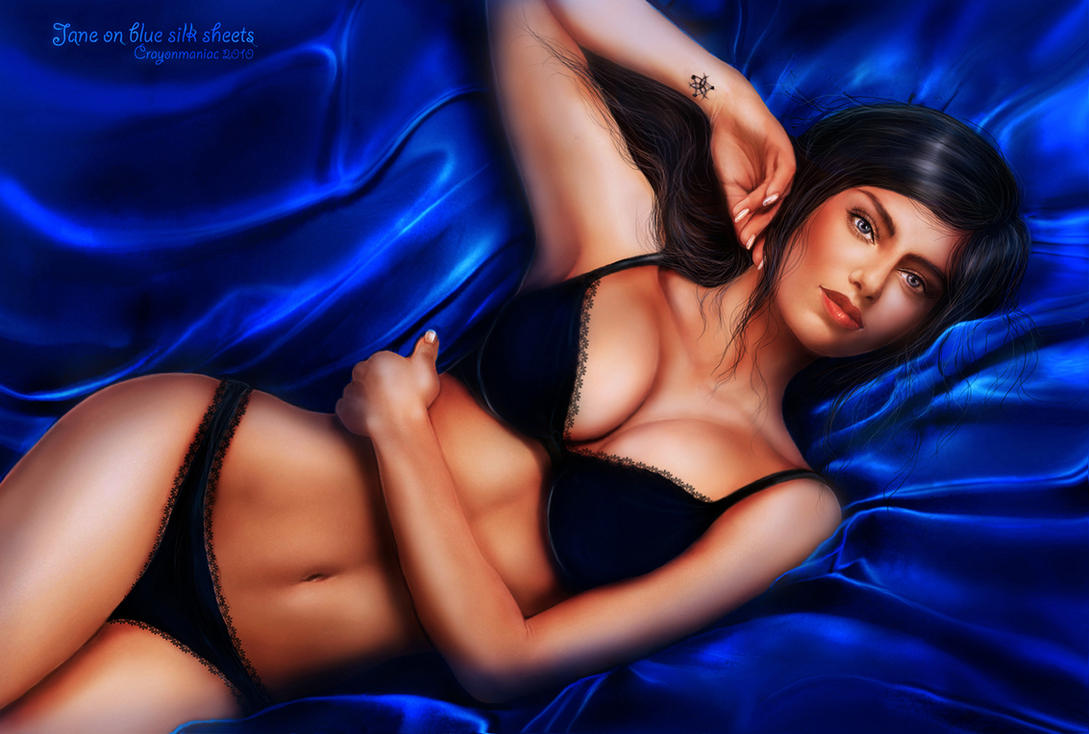 Jane on blue silk sheets by crayonmaniac