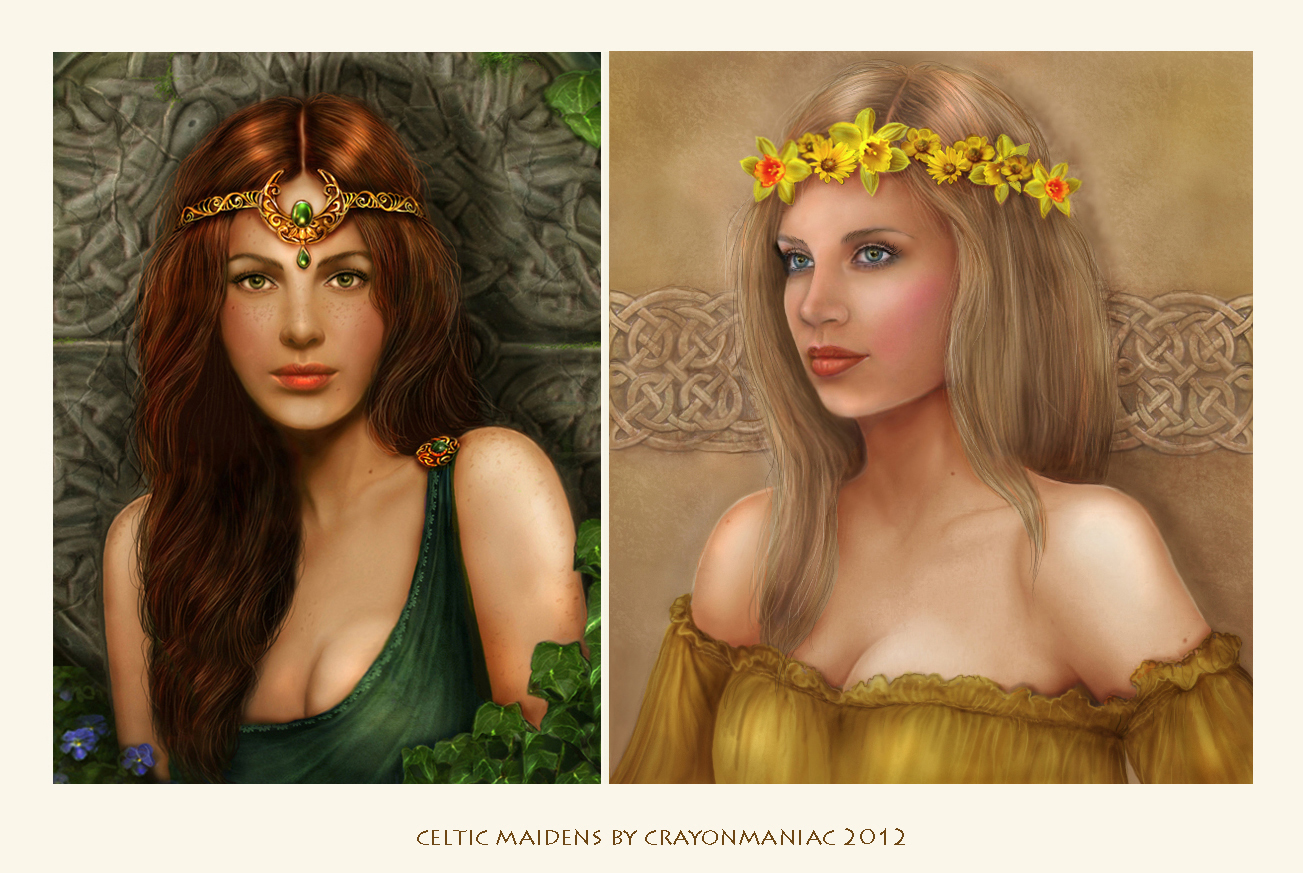 Celtic maidens by crayonmaniac