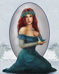 art nouveau 7 - Forget-me-not by crayonmaniac
