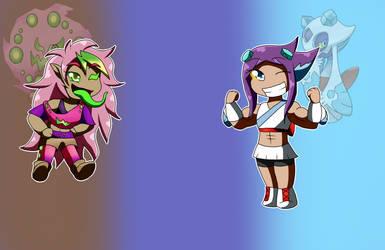 Spooky Chibis: Psyke and Yuki by MetaDoodles