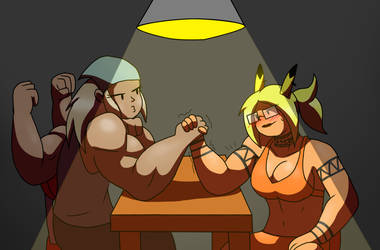 Armwrestling the boss for a raise by MetaDoodles