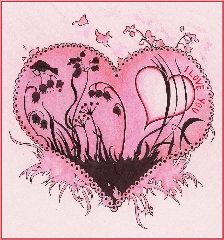 Floral Heart Card by great-queen-morrigan