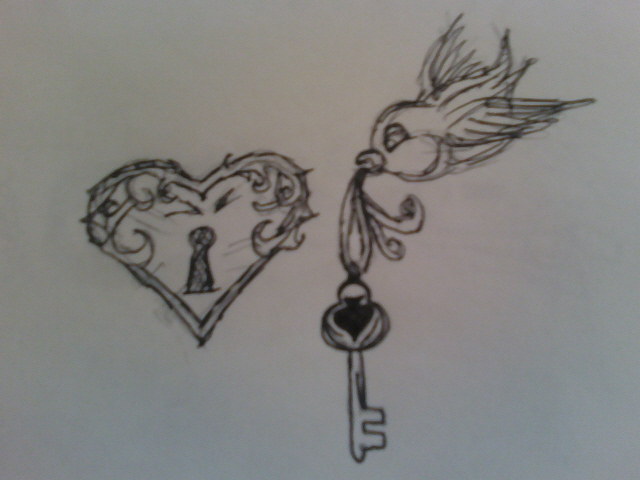 heart and key tattoos for couples