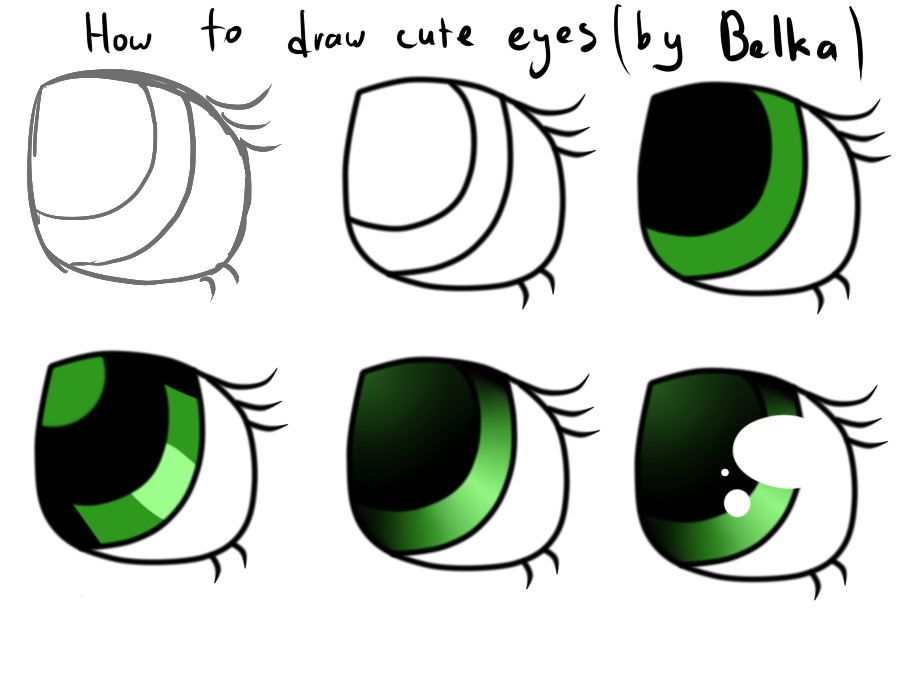 How to draw easy cute eyes tutorial by whoyourenemy