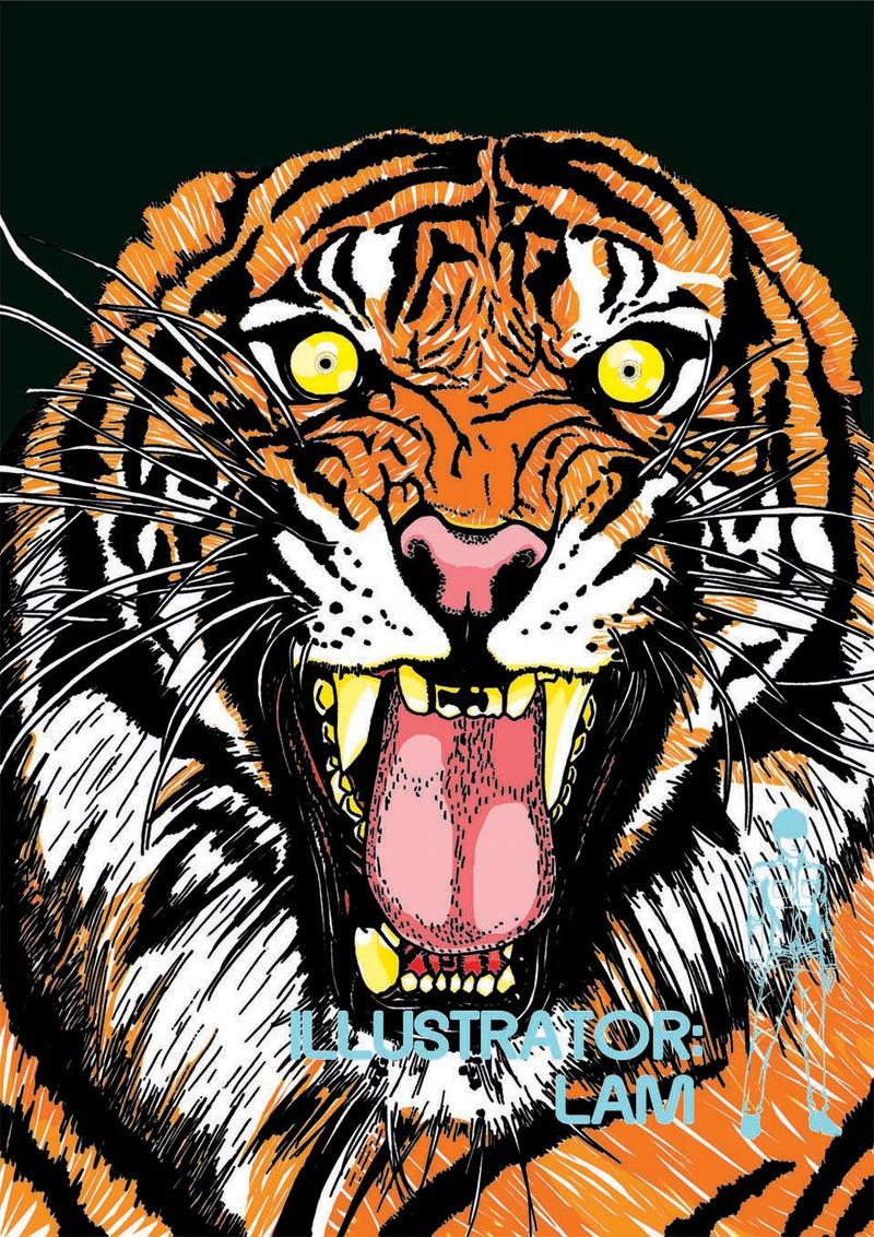 Fierce Tiger in colour by IllustratorLam on DeviantArt