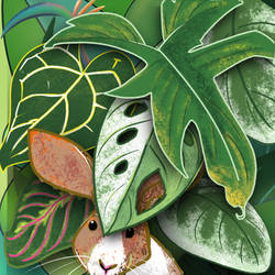 Bunny and plants in the city