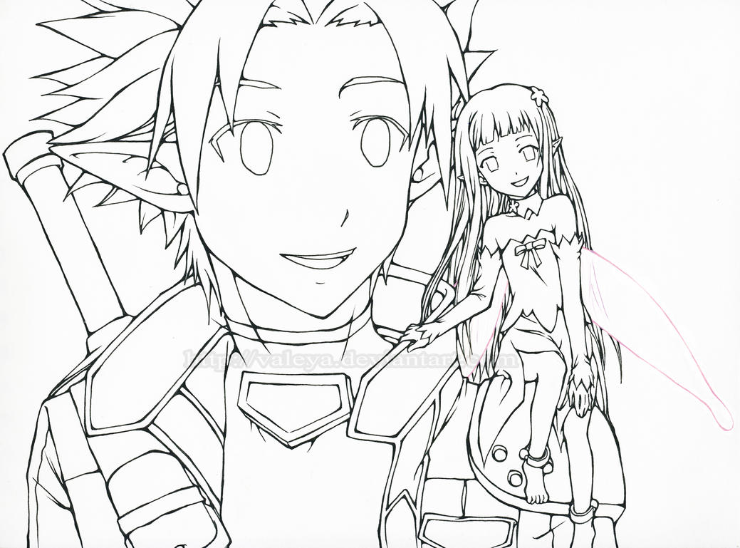 Kirito and yui sword art online alfheim online by for Sword art online coloring pages