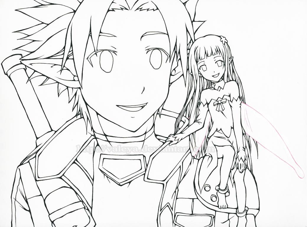 sword coloring page - kirito and yui sword art online alfheim online by