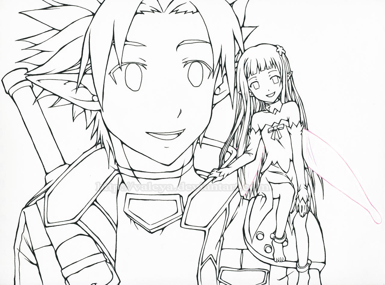 Kirito and yui sword art online alfheim online by for Coloring pages sword
