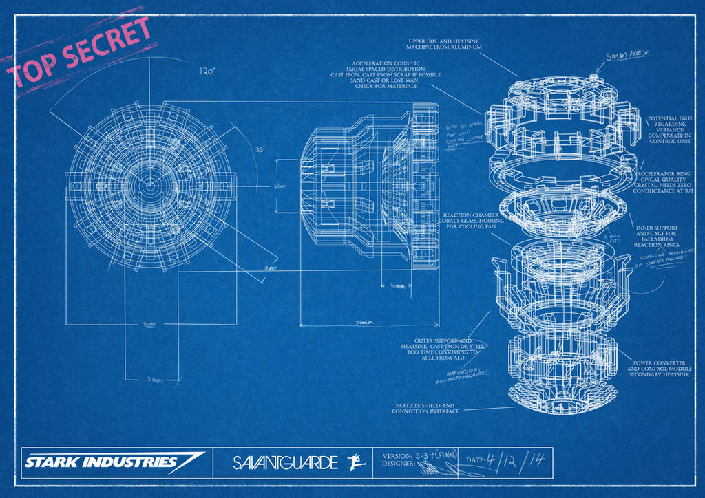 Arc reactor blueprint by savantguarde on deviantart for Where to print blueprints