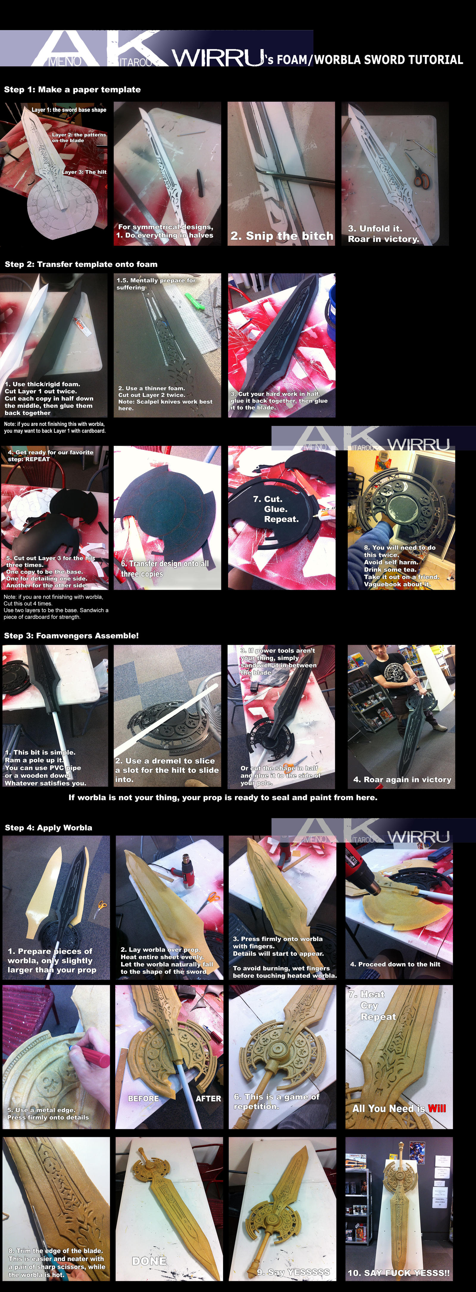 Foam and Worbla Sword Making  DOUBLE TUTORIAL by AmenoKitarou