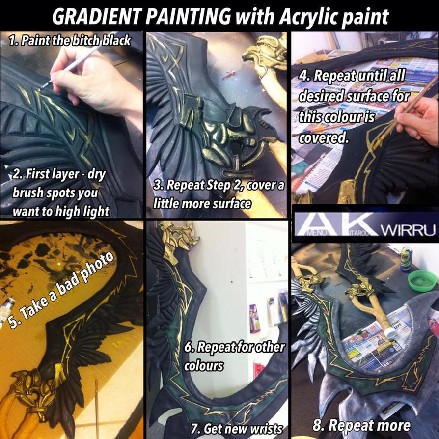 Tutorial Tuesday: Gradient Painting with Acrylic by AmenoKitarou