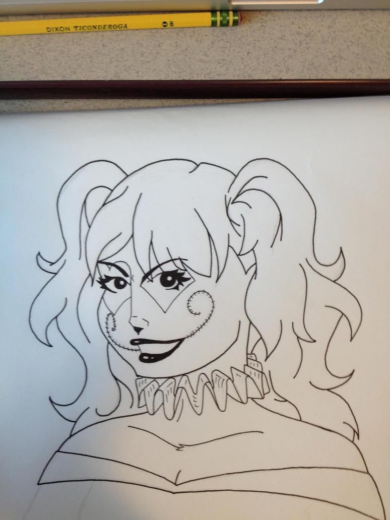 Line Art Harley Quinn : Harley quinn line drawing by starcatcher on deviantart