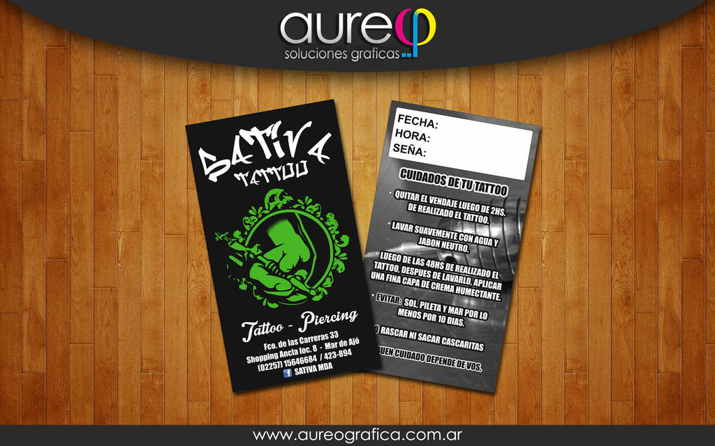 Sativa Tattoo business card by AureoGrafica on DeviantArt