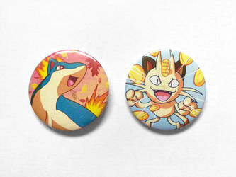 [FOR SALE] Quilava And Meowth Badge by BlueStarbie-Arts