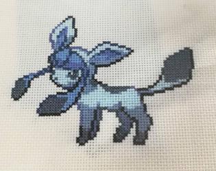 Glaceon Cross Stitch Sprite by BlueStarbie-Arts