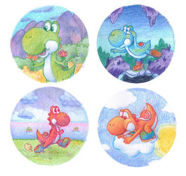[FOR SALE] Yoshi Badges by BlueStarbie-Arts