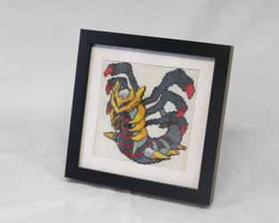 [FOR SALE] Giratina Cross Stitch framed by BlueStarbie-Arts