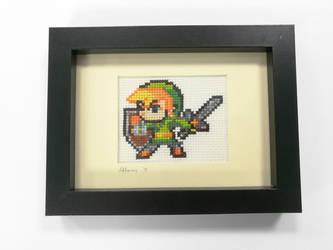 Link Sprite Cross Stitch- framed by BlueStarbie-Arts