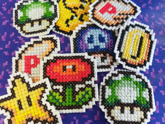 [FOR SALE] Super Mario SNES Item Iron-On Patches by BlueStarbie-Arts