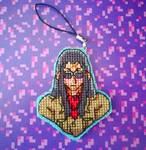 Commander Saki Cross Stitch Keyring by BlueStarbie-Arts