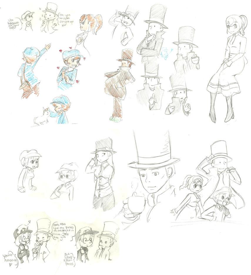 Professor Layton Sketches by megamooni