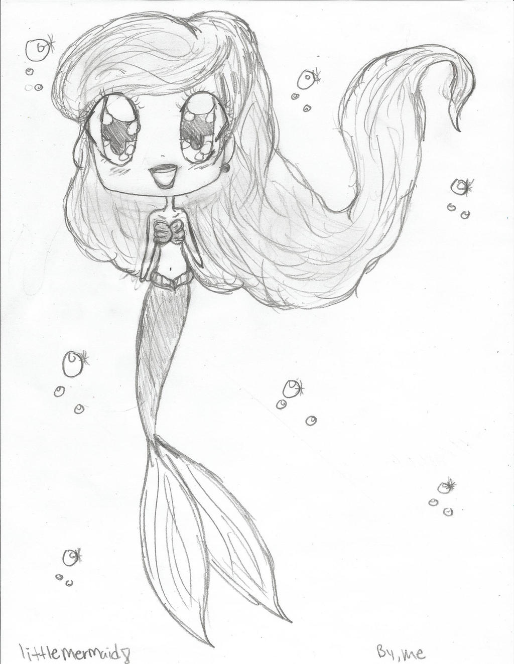 how to draw a chibi mermaid