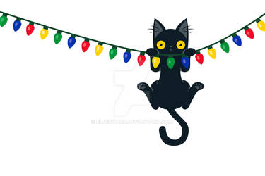 Black Cat Hanging from Christmas Lights