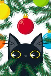 Black Cat vs Christmas Tree