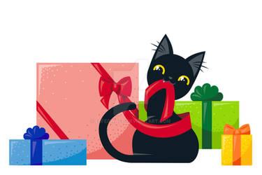 Black Cat vs Christmas Gifts