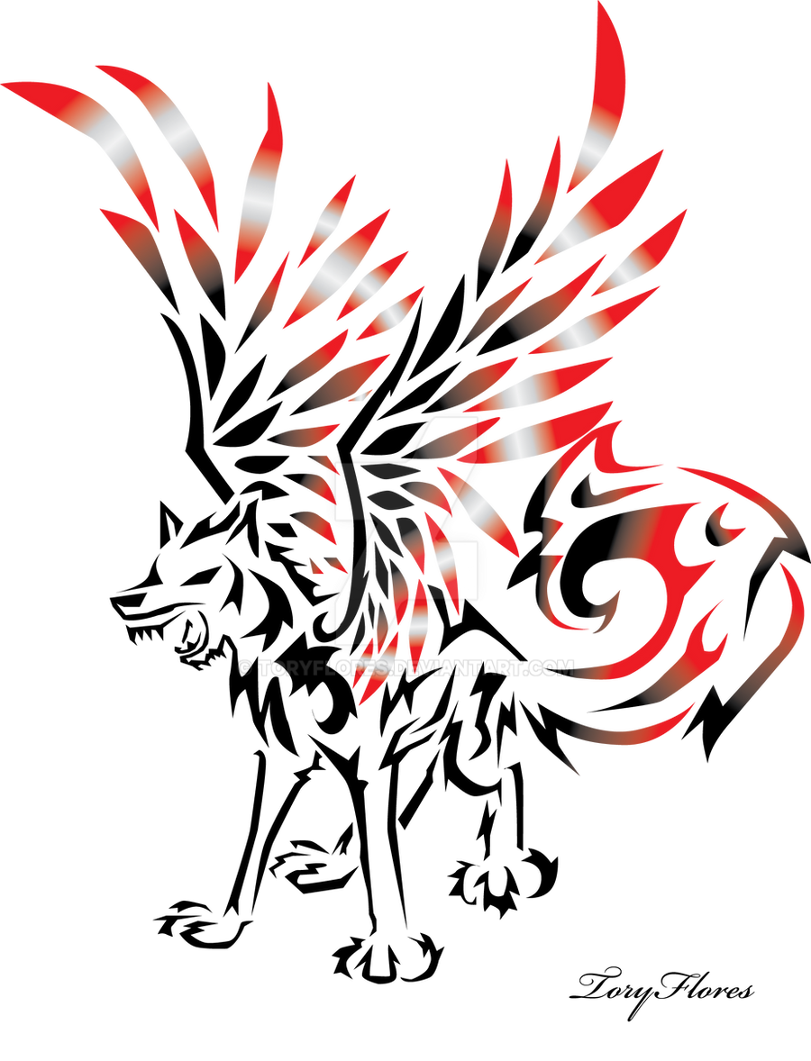 Winged Tribal Wolf by ToryFlores on DeviantArt