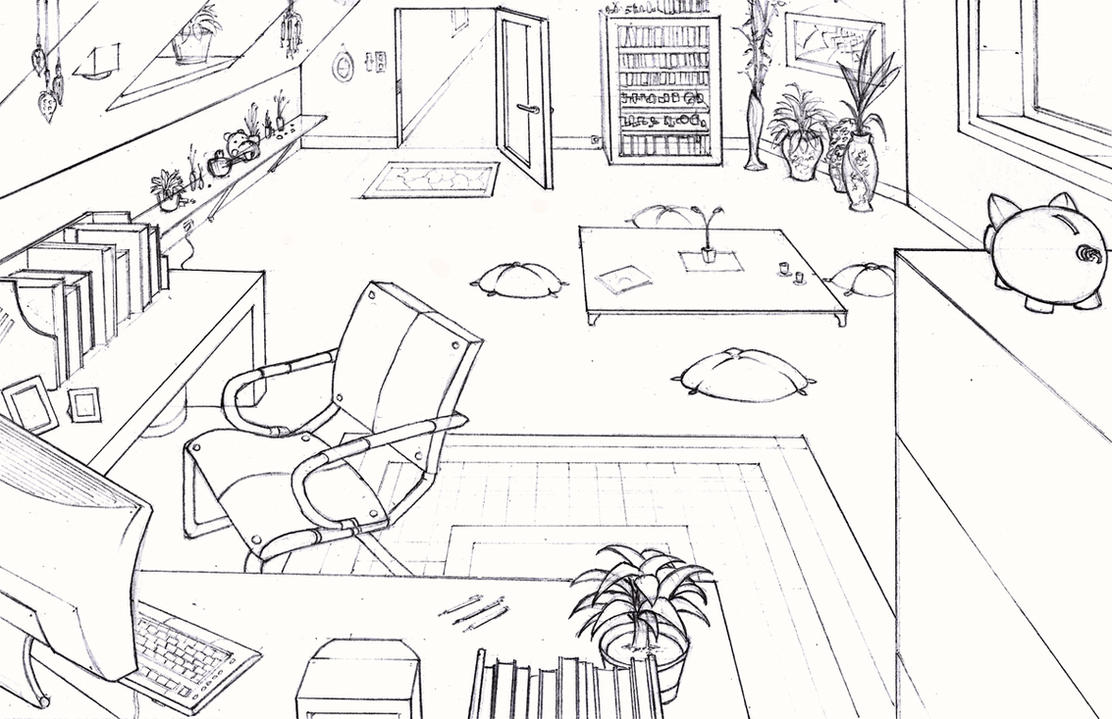 Study room by longjh on deviantart for Simple room drawing