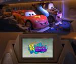Lightning McQueen and Mater watch SpongeBob