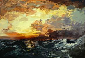Thomas Moran Master Study: pacific ocean sunset