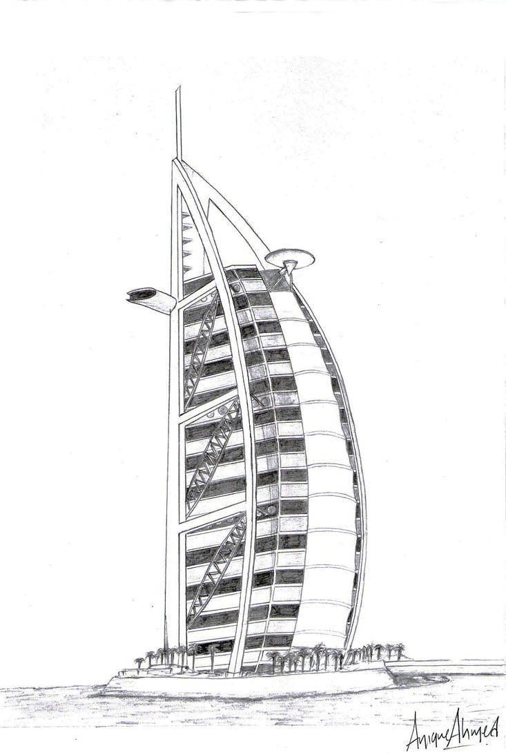 Burj al arab dubai by unique anik on deviantart for Burj khalifa sketch