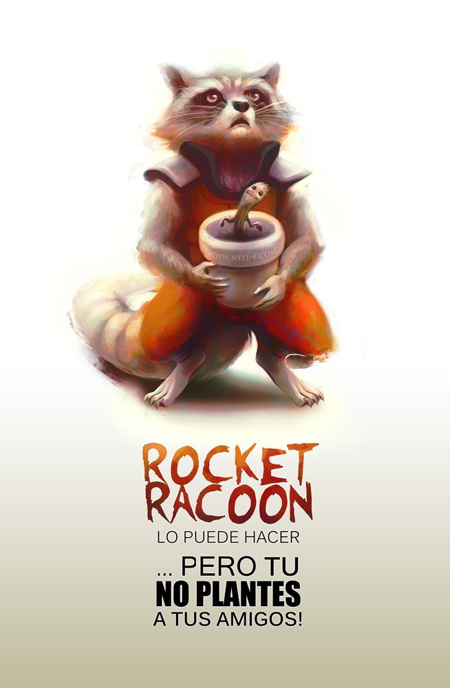 Rocket Racoon and Groot Pot by nell-fallcard