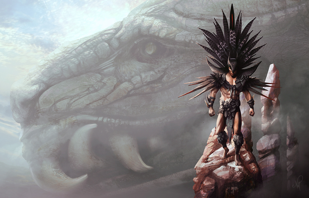 Aztec Batman - Brainstorm Concept Art Challenge by nell-fallcard