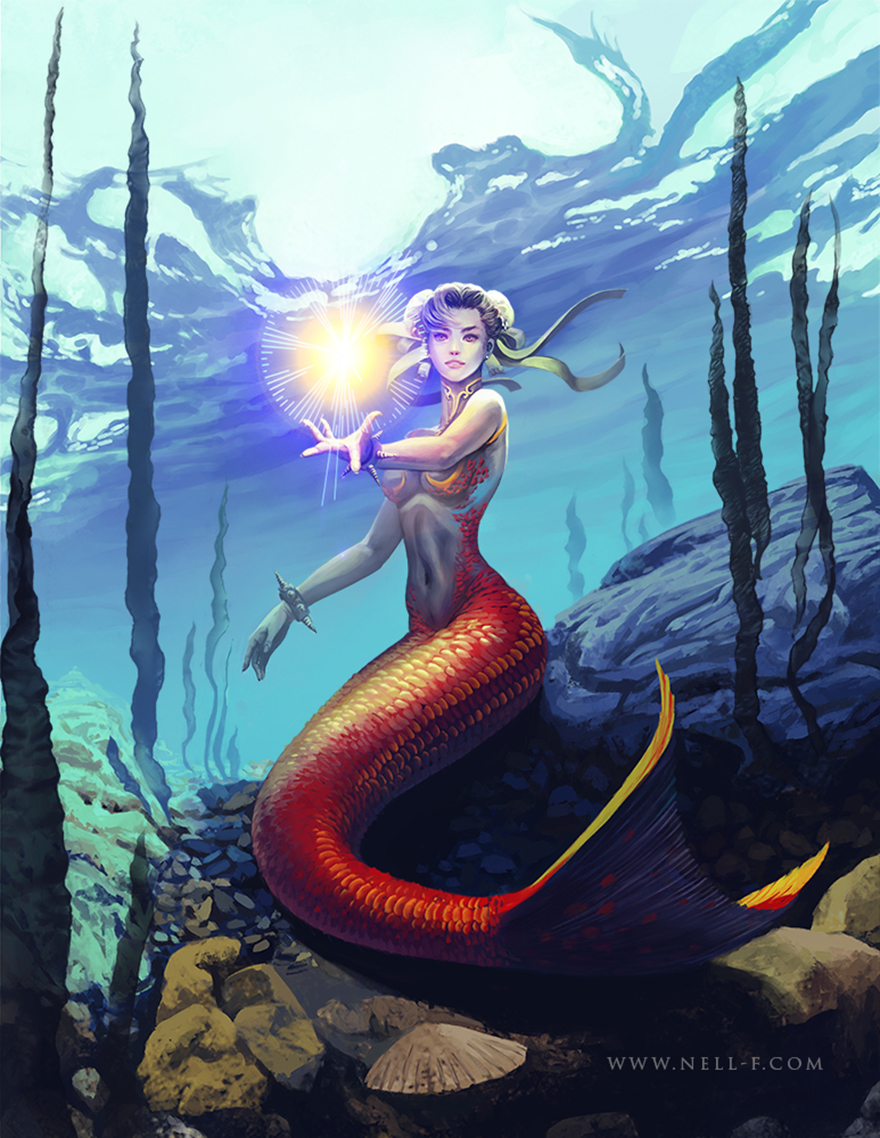 Mermaid Chun Li by nell-fallcard