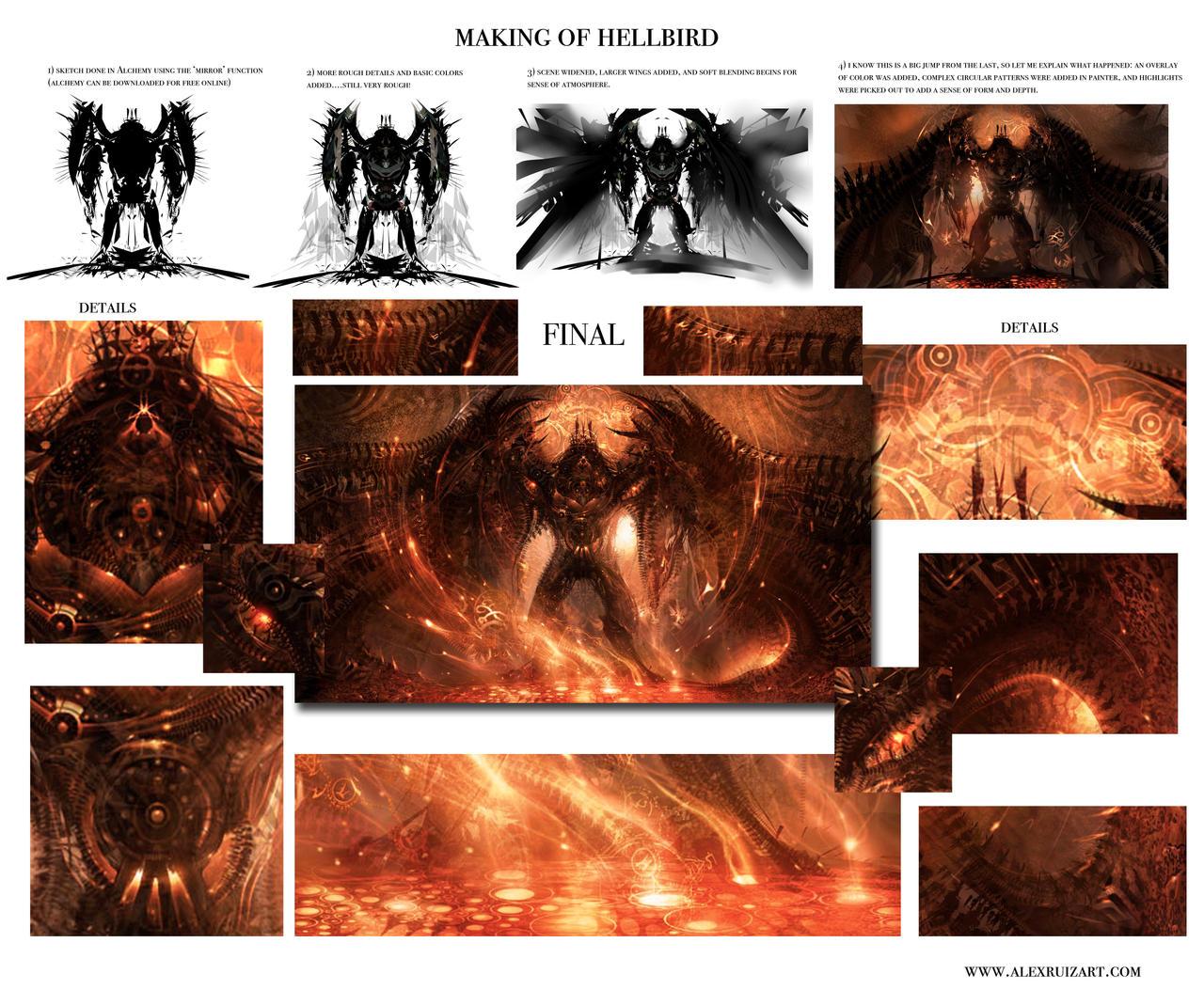Making of Hellbird by AlexRuizArt