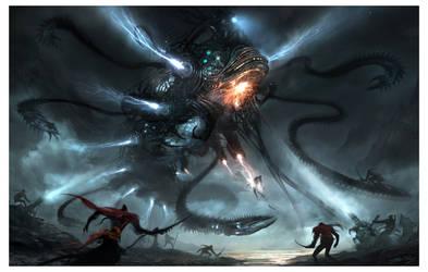 Mech-Dragon Battle by AlexRuizArt