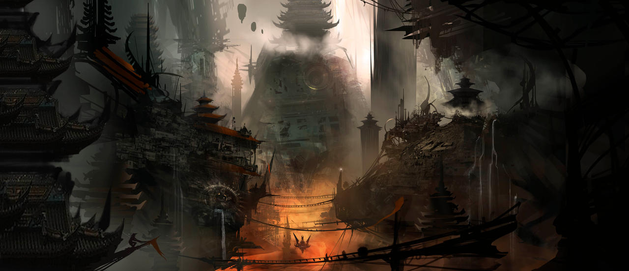 Post Apoc Pagodas WIP by AlexRuizArt