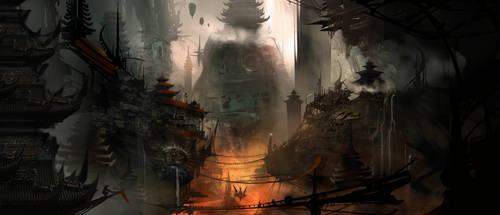 Post Apoc Pagodas WIP by AlexRuizArt