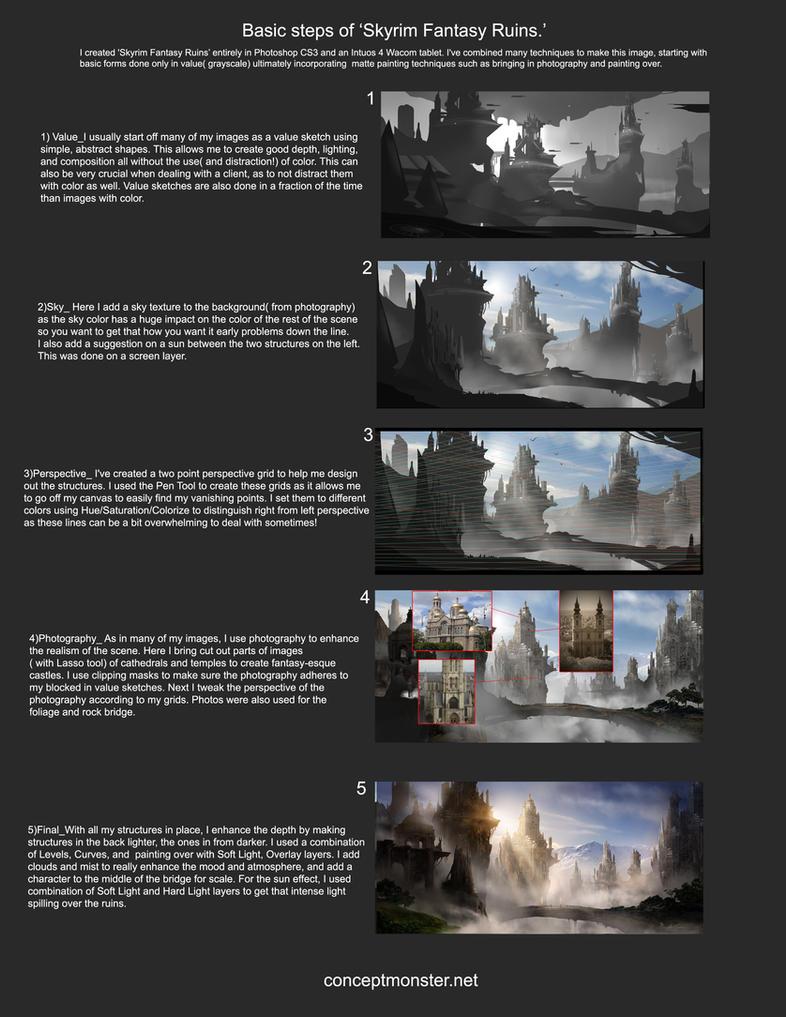 Skyrim Fantasy Ruins_Steps by AlexRuizArt
