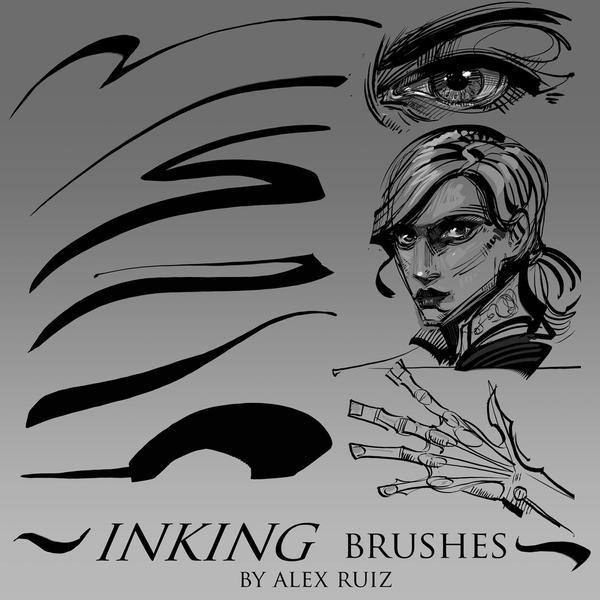 Inking Brushes by AlexRuizArt