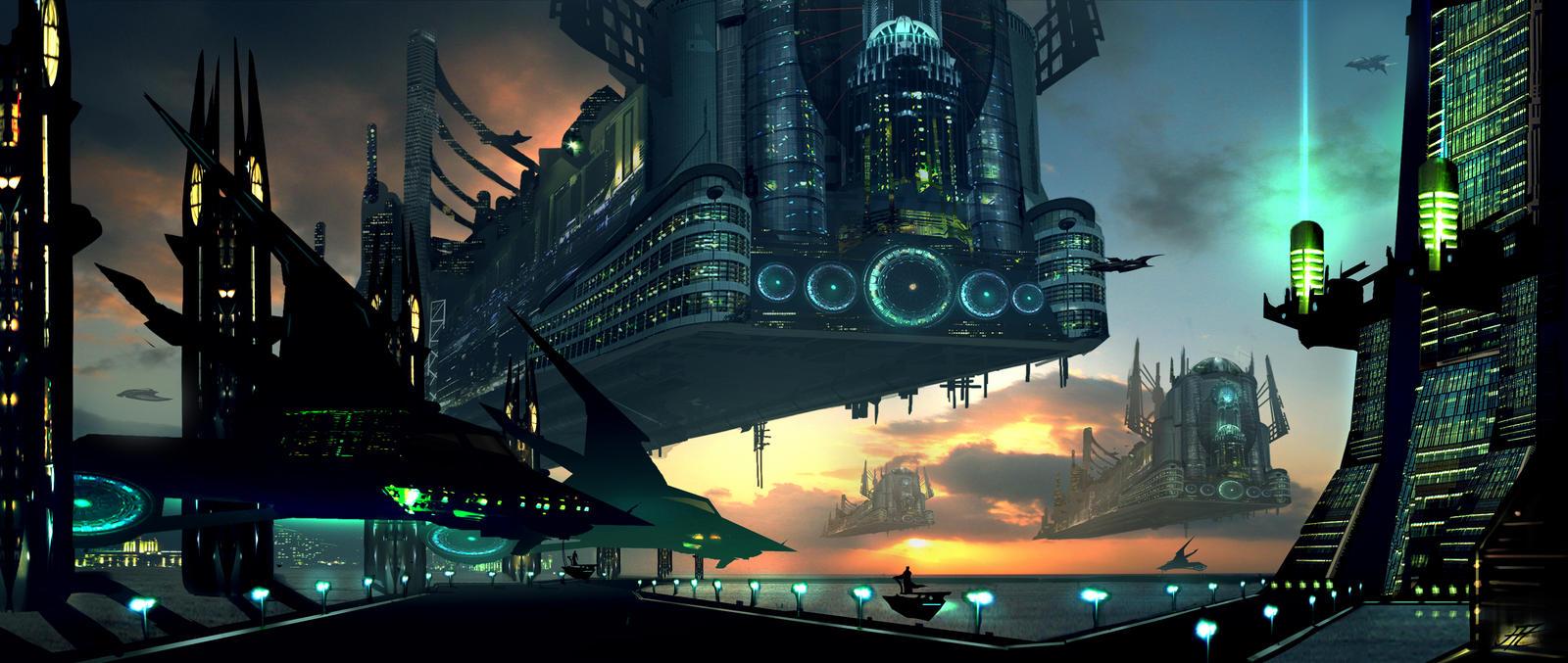 Hovering Metropolis by AlexRuizArt