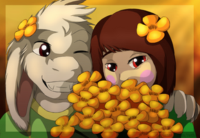 Chara and Asriel by Rethza