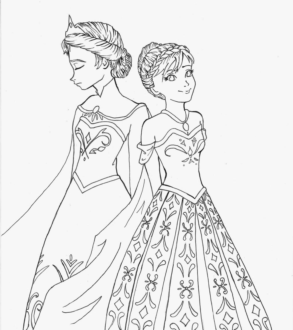 Anna and elsa by momosangel on deviantart for Anna and elsa coloring pages