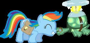 Rainbow Dash and Tank snuggle